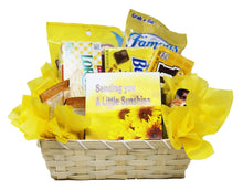 Load image into Gallery viewer, Get Well Soon Yellow Themed Sunshine Basket Empathy Gift Relax and Unwind Grocery Gourmet Front