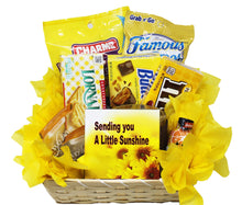 Load image into Gallery viewer, Get Well Soon Yellow Themed Sunshine Basket Empathy Gift Relax and Unwind Grocery Gourmet Top