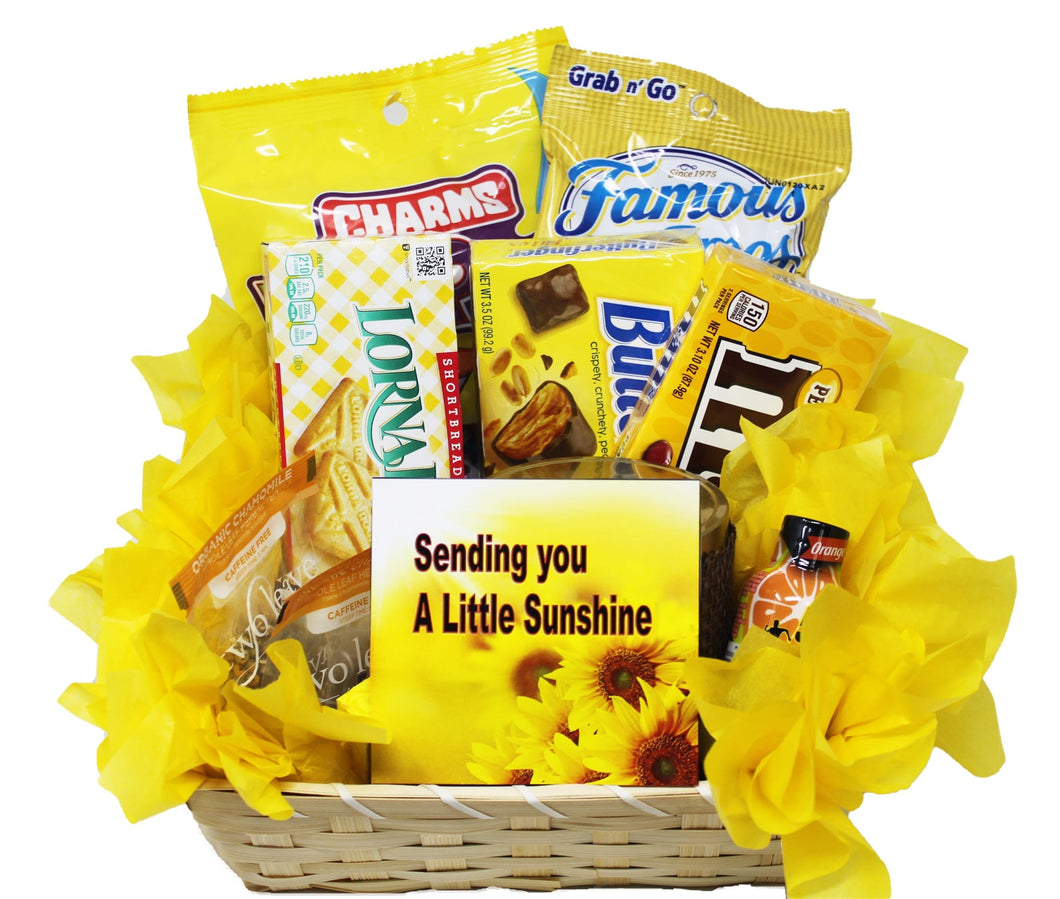 Get Well Soon Yellow Themed Sunshine Basket Empathy Gift Relax and Unwind Grocery Gourmet Top