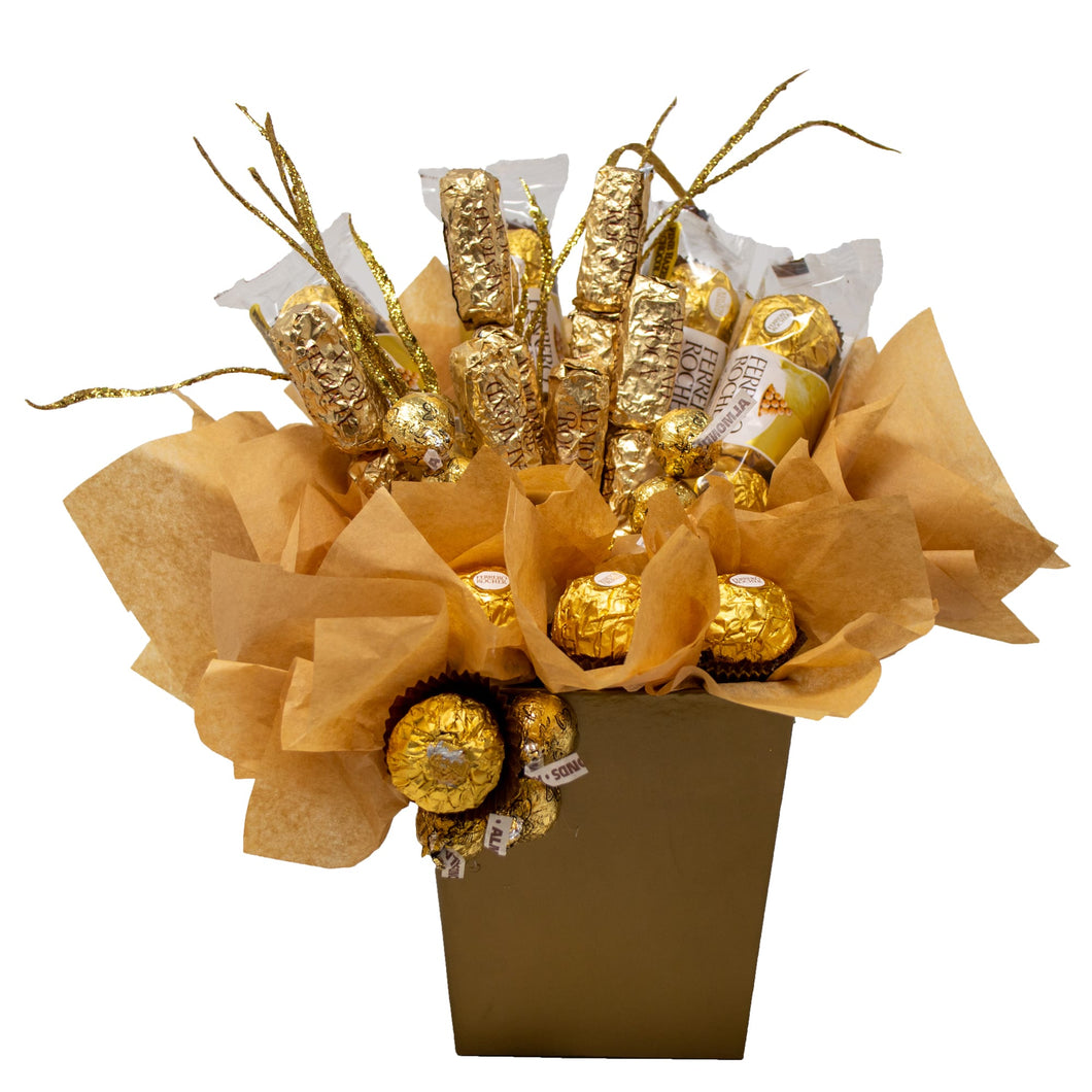Golden Chocolates Candy Bouquet Front