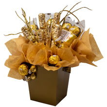 Load image into Gallery viewer, Golden Chocolates Candy Bouquet Side