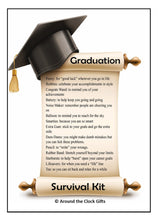 Load image into Gallery viewer, Graduation Survival Kit Witty Instruction Card with scroll2