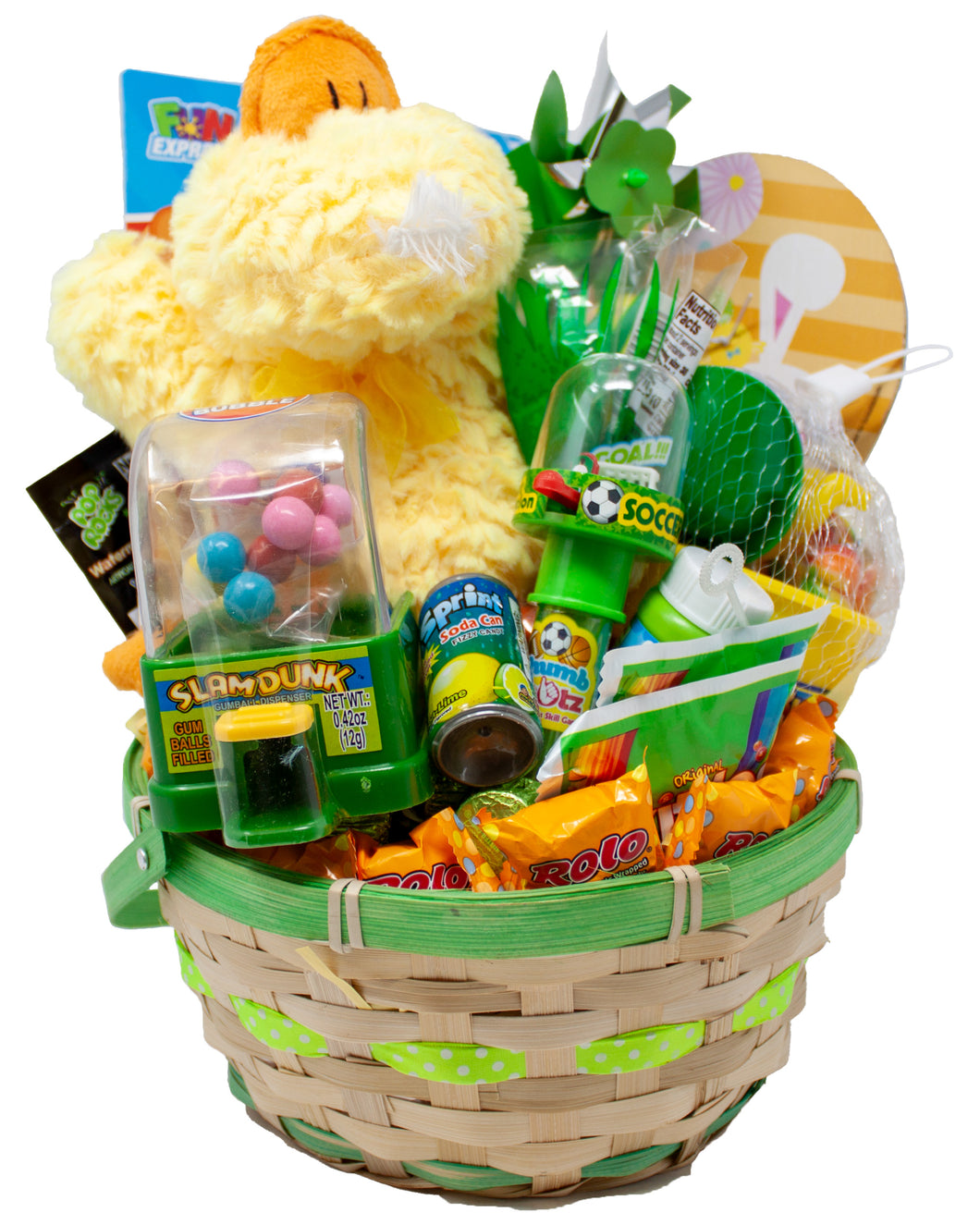 Pre-Made Green Pastel Easter Basket for Boys and Girls