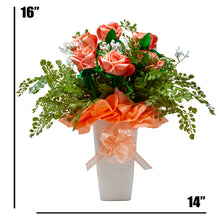 Load image into Gallery viewer, Handmade Peach Satin Rose Faux Floral Bouquet