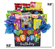 "Load image into Gallery viewer, Happy Birthday Balloons Candy Gift Box Slam Dunk dimensions 11.5"" x 11.5"""
