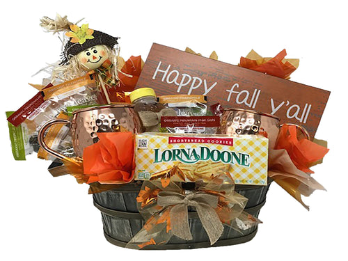 Happy Fall Yall tea lovers gift basket image from front