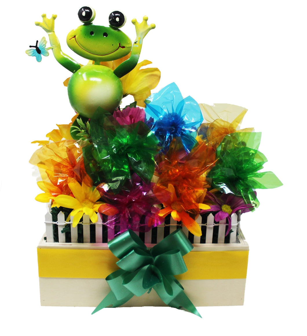 Happy Frog Garden w Prem Chocolates disquised as flowers front