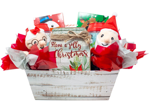 Holly Jolly Christmas Gift Basket Front View