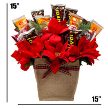 Load image into Gallery viewer, Holiday Faux Poinsettia Arrangement with Idaho Spud and Gourmet Chocolates Dimensions