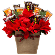 Load image into Gallery viewer, Holiday Faux Poinsettia Arrangement with Idaho Spud and Gourmet Chocolates Front