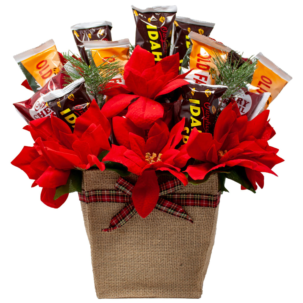 Holiday Faux Poinsettia Arrangement with Idaho Spud and Gourmet Chocolates Front