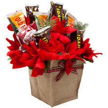 Load image into Gallery viewer, Holiday Faux Poinsettia Arrangement with Idaho Spud and Gourmet Chocolates Side Alternative