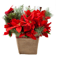 Load image into Gallery viewer, Holiday Faux Poinsettia Arrangement with Idaho Spud and Gourmet Chocolates back view