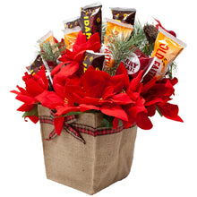 Load image into Gallery viewer, Holiday Faux Poinsettia Arrangement with Idaho Spud and Gourmet ChocolatesSide