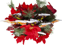Load image into Gallery viewer, Holiday Faux Poinsettia Arrangement with Idaho Spud and Gourmet ChocolatesTop