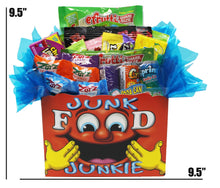 Load image into Gallery viewer, Edible Gift Junk Food Junkie Gift Box dimensions
