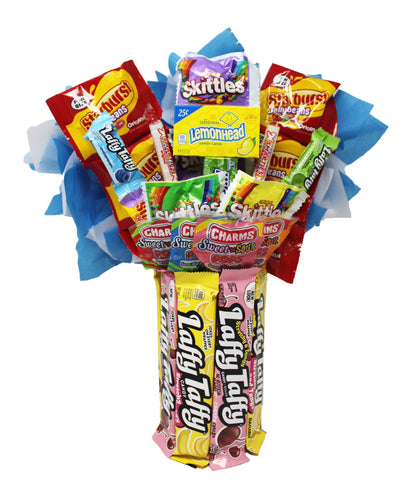 Edible Candy Bouquet with Laffy Taffy Base Front View