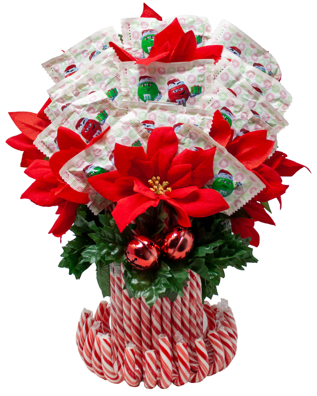 M&M Candy Cane Arrangement with Faux Poinsettias