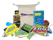 Load image into Gallery viewer, Military Wife Survival Kit Display of contents with muslin bag 2