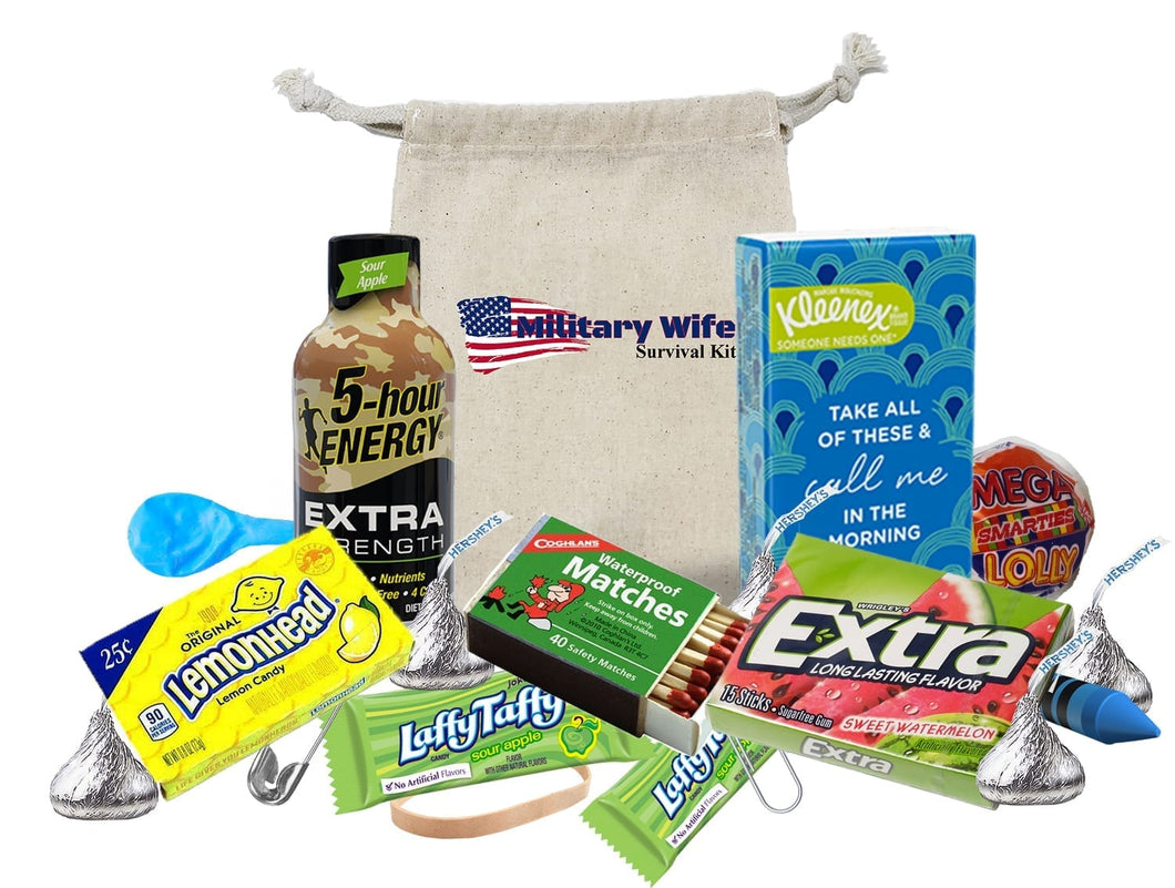 Military Wife Survival Kit Display of contents with muslin bag 2