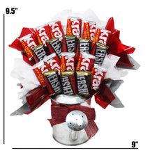 "Load image into Gallery viewer, Hershey Miniatures Chocolate Candy Bouquet in Galvanized Watering Can dimensions 9.5"" x 9"""