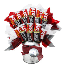 Load image into Gallery viewer, Hershey Miniatures Chocolate Candy Bouquet in Galvanized Watering Can