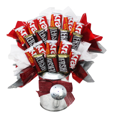 Hershey Miniatures Chocolate Candy Bouquet in Galvanized Watering Can