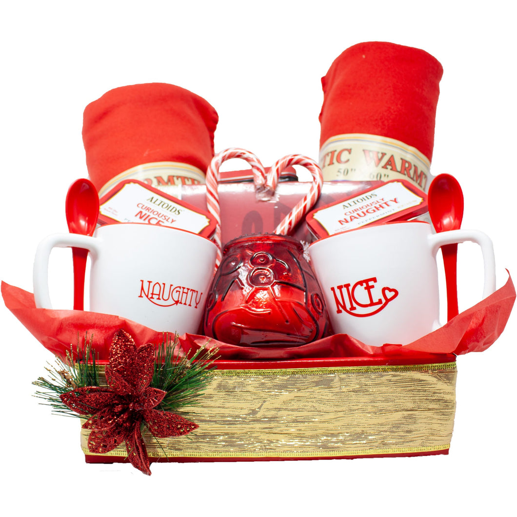 Naughty Nice Premium Couples Gift Basket Front