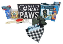 Load image into Gallery viewer, New Puppy Dog Gift Box image showing contents paw print box
