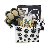 Load image into Gallery viewer, New Puppy Dog Gift Box image showing front of paw print box