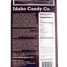 Load image into Gallery viewer, Owyhee Idaho Spud Chocolate Candy Bars 18 count case ingredients and nutrition label