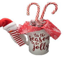 Load image into Gallery viewer, Peppermint Lovers Gift Basket a Unique Holiday Gift Idea for Friends Tis the Season Beverage Mug with Snowman