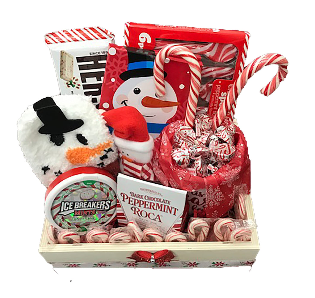Peppermint Lovers Gift Basket a Unique Holiday Gift Idea for Friends top view