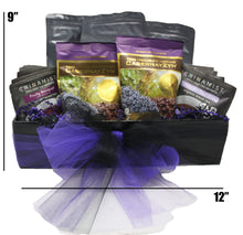 Load image into Gallery viewer, Premium Blends Coffee Tea Sampler Gift Basket dimensions