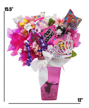 Load image into Gallery viewer, Princess Gifts Candy Bouquet image showing dimensions 15.5 x 12