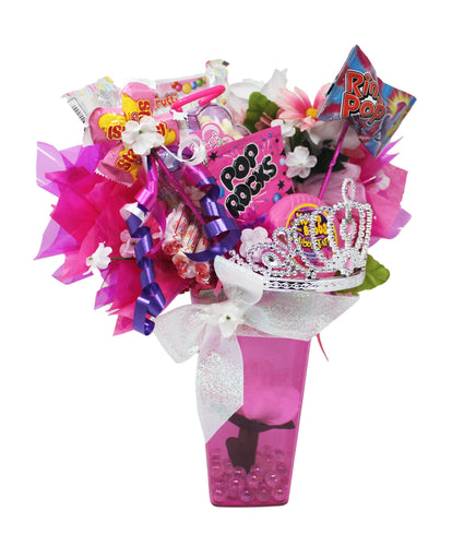 Princess gifts candy bouquet image showing front of arrangement