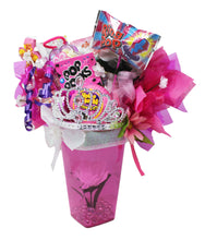 Load image into Gallery viewer, Princess gifts candy bouquet image showing side view of arrangement