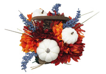 Load image into Gallery viewer, Artificial White Pumpkins Mums Flower Basket Decor image showing top of basket