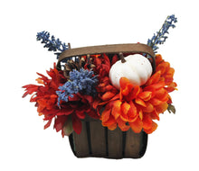 Load image into Gallery viewer, Artificial White Pumpkins Mums Flower Basket Decor image showing back of basket