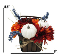 Load image into Gallery viewer, Artificial White Pumpkins Mums Flower Basket Decor image showing dimensions 8.5 x 8