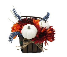 Load image into Gallery viewer, Artificial White Pumpkins Mums Flower Basket Decor image showing front of basket