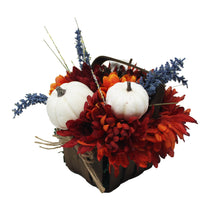 Load image into Gallery viewer, Artificial White Pumpkins Mums Flower Basket Decor image showing side of basket