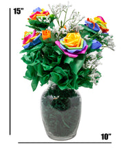 Load image into Gallery viewer, Rainbow Rose Bouquet Handmade with Paper Roses and Faux Baby's Breath