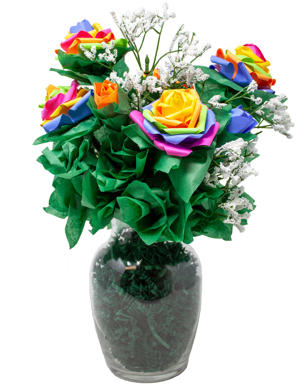 Rainbow Rose Bouquet Handmade with Paper Roses and Faux Baby's Breath