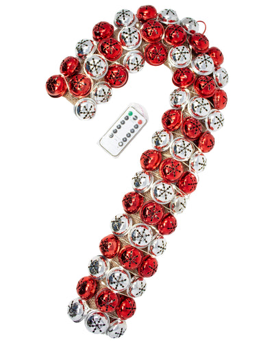 Red and Silver Jingle Bell Candy Cane Wreath with Remote