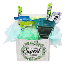 Load image into Gallery viewer, Relaxing Bath Gift Set for Stress Relief with Herbal Teas and Sweet Treats imaging showing front of gift box