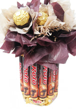 Load image into Gallery viewer, Chocolate candy bouquet with Ferrero Rocher, Rolo, Twix and Dove Chocolates View of Base