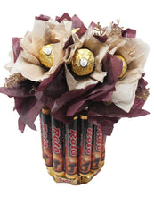 Load image into Gallery viewer, Chocolate candy bouquet with Ferrero Rocher, Rolo, Twix and Dove Chocolates Closeup