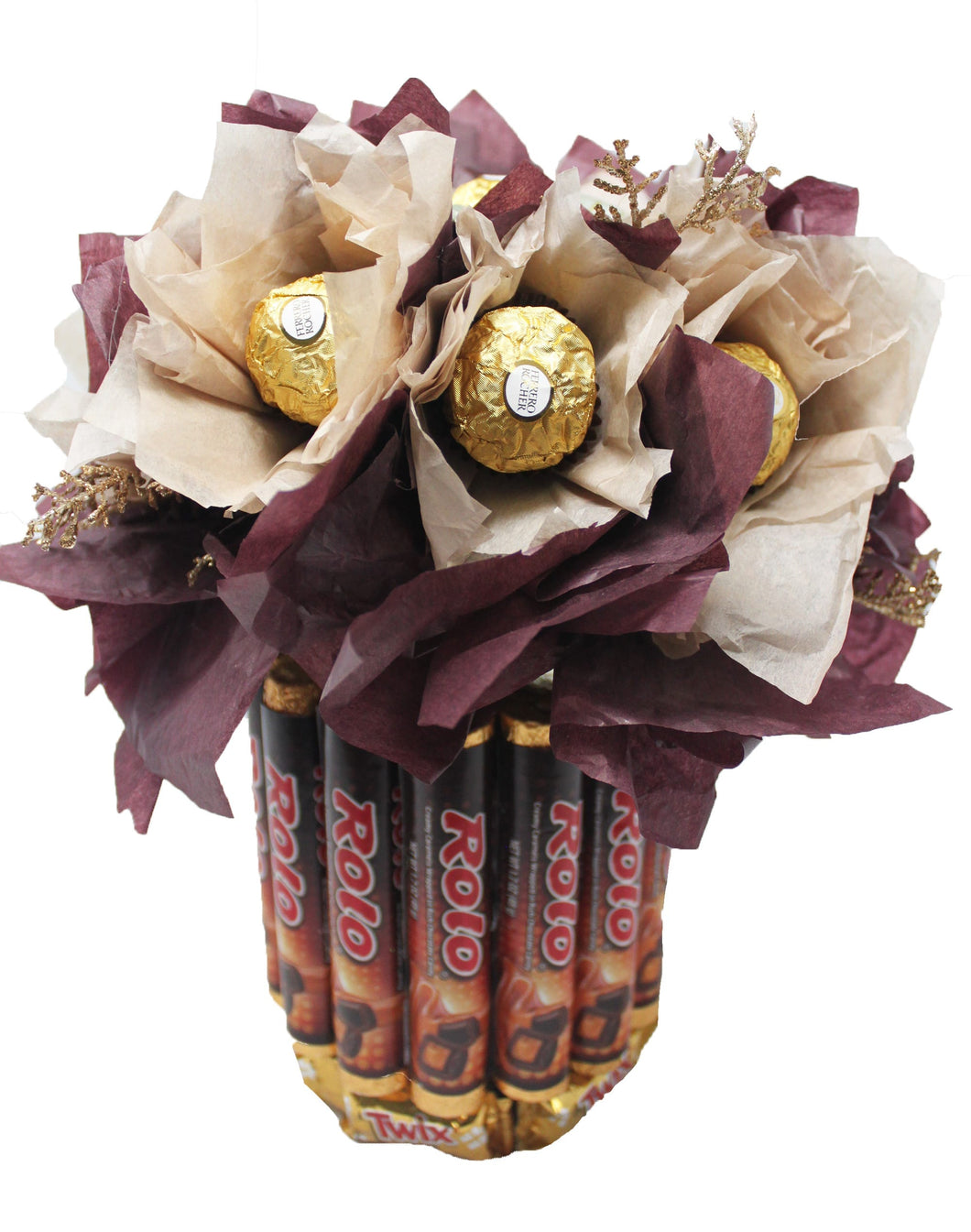 Chocolate candy bouquet with Ferrero Rocher, Rolo, Twix and Dove Chocolates Closeup
