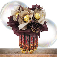 Load image into Gallery viewer, Chocolate candy bouquet with Ferrero Rocher, Rolo, Twix and Dove Chocolates